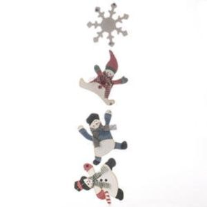 Primitive Wood Snowman and Snowflake Hanger